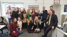 Malaria No More UK staff with Fever Tree drinks