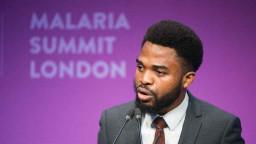 Elvis Eze speaking at the Malaria Summit London