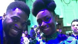 Youth ambassador Elvis in a selfie with award-winning author Chimamanda Ngozi Adichie