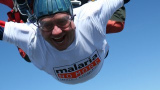 A man in the sky, skydiving for Malaria No More UK