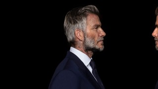 David Beckham old and young face-to-face
