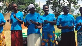 A line of female Community Health Workers in Siaya County, Kenya