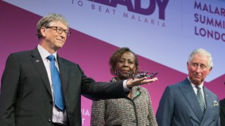 At the Malaria Summit 2018 with Bill Gates and drone